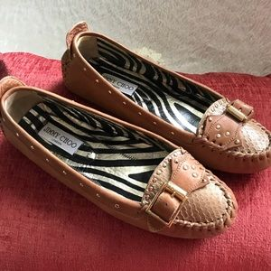 Jimmy Choo Brown Leather Snakeskin Loafers Sz 38
